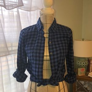 Old Navy royal and black checked top